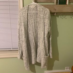 off white and black knitted cardigan